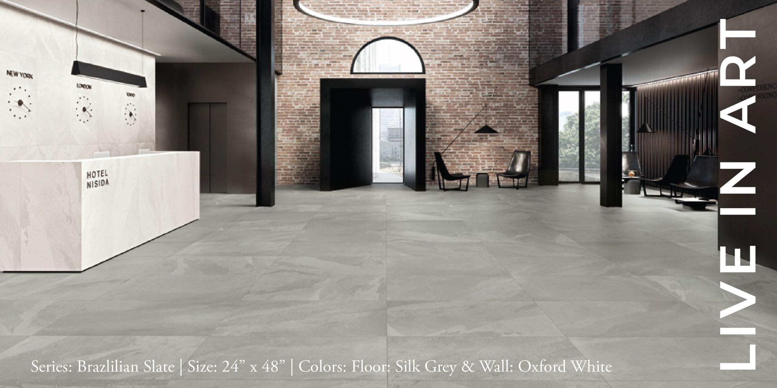 Brazilian Slate Silk Grey, Oxford White 18x36-01-01