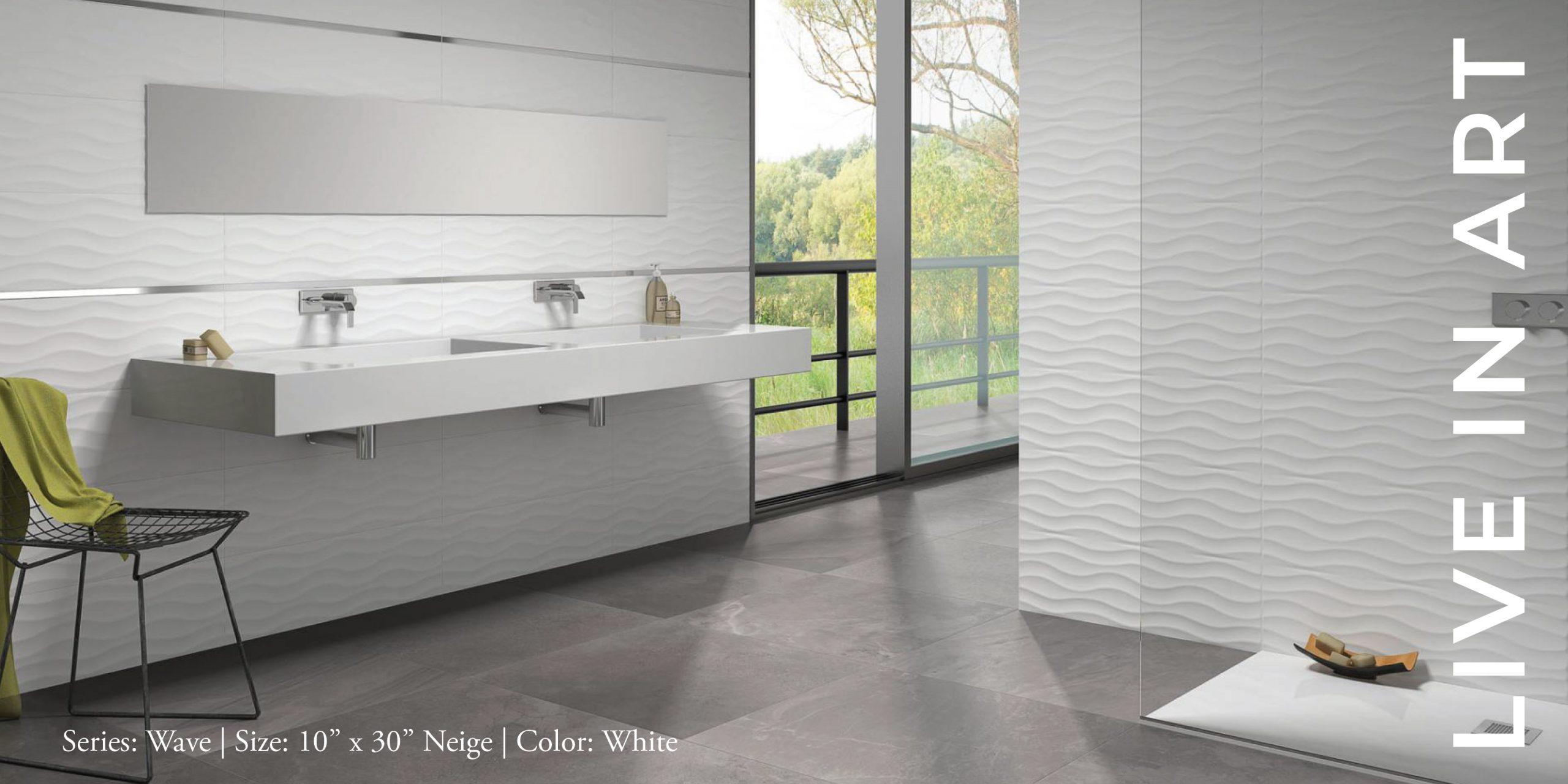 Wave White 10x30 Neige